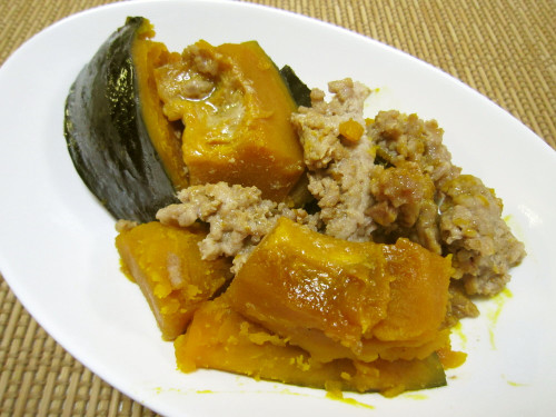 Simmered Ground Meat and Kabocha Squash