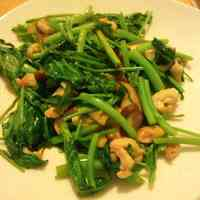 Stir-Fried Ong Choy (Chinese Water Spinach) with Leftover Chicken Skin