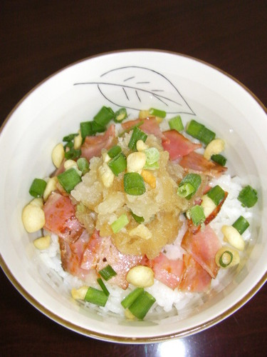 Easy & Quick Bacon and Grated Daikon Radish Rice Bowl