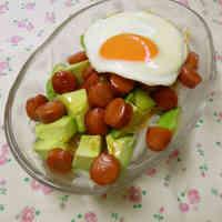 Avocado and Wiener Sausage Teriyaki Rice Bowl