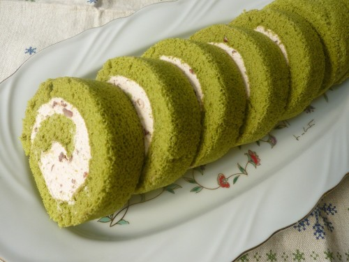 Fluffy Green Tea Chiffon Swiss Roll with Adzuki Cream