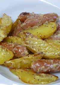 Potato and Wiener Sausages in Mustard and Mayonnaise Sauce