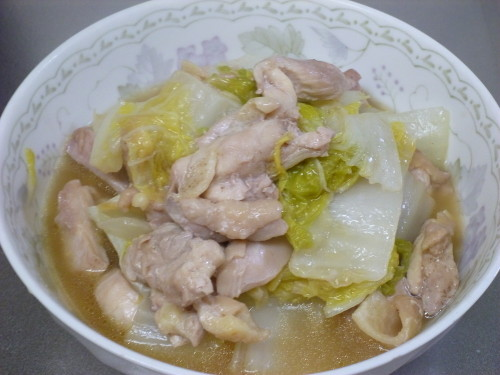Simmered Chicken and Chinese Cabbage with Soup Stock Cubes
