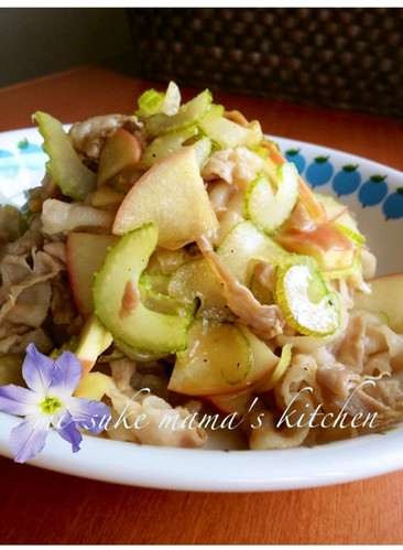 Easy Pork, Apple, and Celery Sauté with Ponzu Sauce