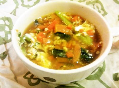 Super Easy, Carrot, Komatsuna, and Egg Soup