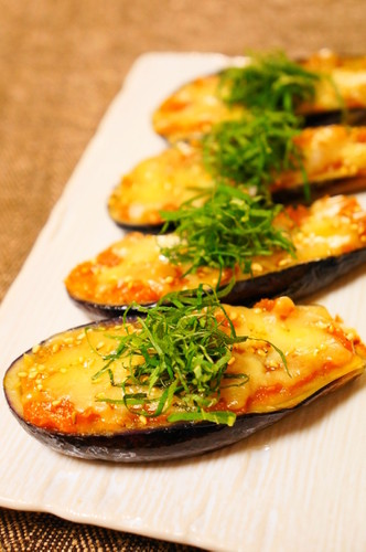 Fried Eggplant with Miso and Melted Cheese