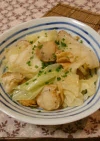 Cabbage and Baby Scallops Steamed With Olive Oil