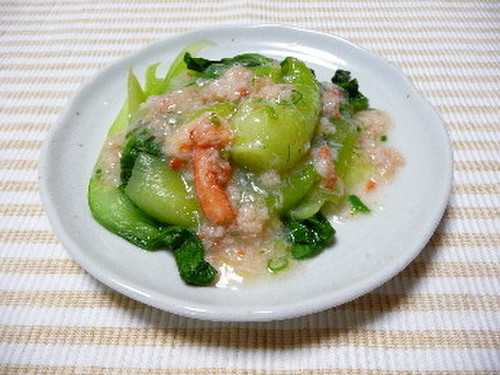 Crab and Bok Choy in Thick Ankake Sauce (Using Canned Crabmeat)