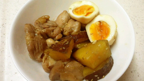 Comforting Salty-Sweet Simmered Chicken Thighs, Sweet Potato, and Eggs
