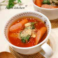 Quick!! Wiener Sausage and Lettuce Tomato Soup