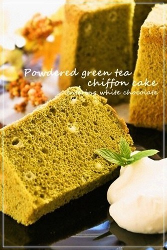 Matcha Chiffon Cake with White Chocolate