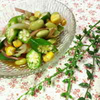 Side Salad with Edamame Beans, Okra and Corn