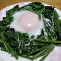 Eggs in a Nest of Spinach with Mayonnaise