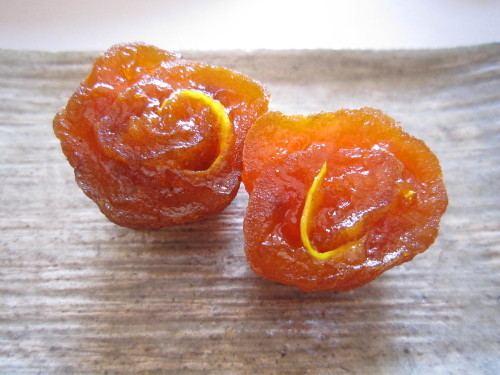 Persimmons Rolled Up with Yuzu Peel