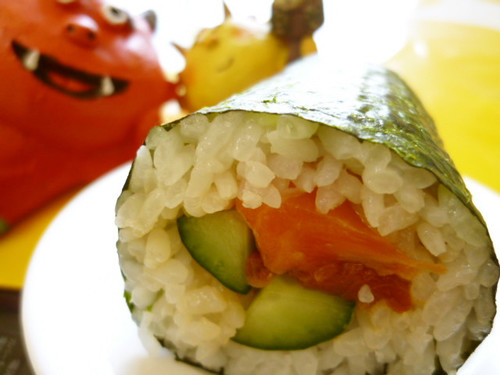 Ehoumaki: Lucky Fat Sushi Rolls with Marinated Salmon and Cucumber