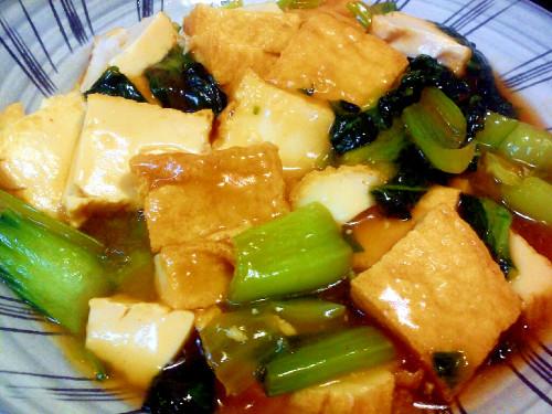 Quick Stir-Fried Atsuage and Bok Choy
