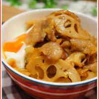 Crispy Lotus Roots and Pork Belly Rice Bowl with Yakiniku Sauce
