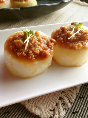 Pressure Cooked Furofuki Daikon Radish with Meat-Miso Sauce