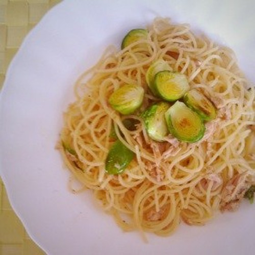 Yuzu Pepper Pasta with Brussels Sprouts and Tuna