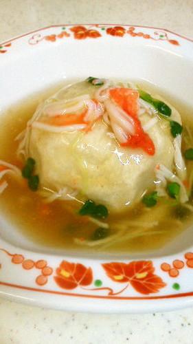 Taro Root Dumpling with Imitation Crab Meat Sauce