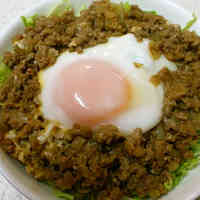 Easy Lunch Loco Moco Rice Bowl with Stir-fried Hamburger Meat