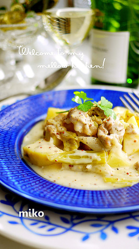 Simmered Spring Cabbage and Spring Onions with Mustard Cream