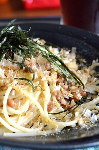 Easy Natto & Bonito Flake Pasta Lunch
