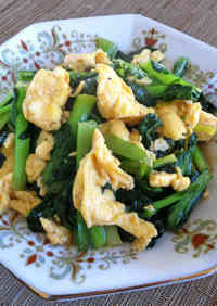 Komatsuna and Egg Stir Fry with Oyster Sauce