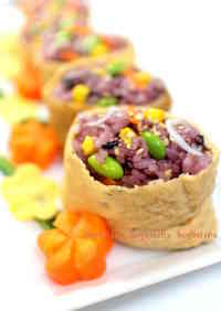 Seven Colored Inari Sushi with Black Rice