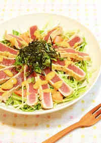 Tuna Tataki and Mizuna Salad with Garlic-Miso Dressing