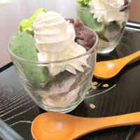A Japanese Confection: Namafu Parfait with An-mitsu and Oshiruko