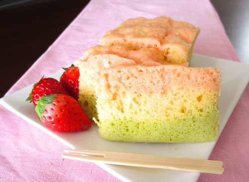 For Doll Festival: Easy Tri-Color Steamed Bread Cake made with Pancake Mix