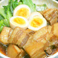 Meltingly Tender Simmered Pork Belly Cubes in a Rice Cooker