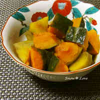 Super Easy Simmered Kabocha and Sweet Potatoes