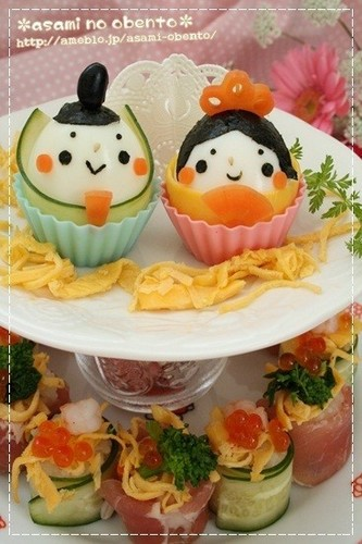 Edible Hina Dolls for Doll Festival