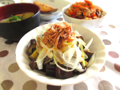 This is in Heavy Rotation in the Summer!  Eggplant, Onion and Tuna Salad with Ponzu Sauce