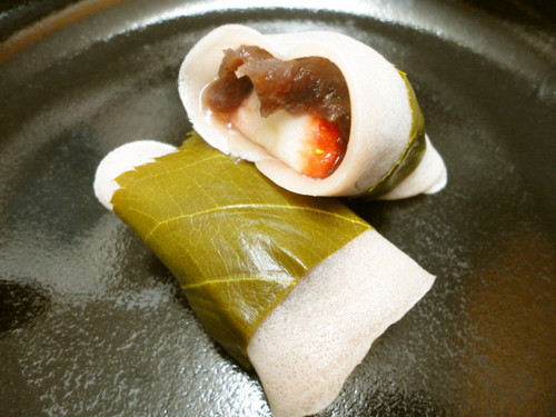 Kanto-Style Sakura Mochi with Strawberries