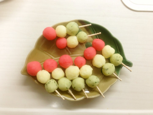 Tri-Color Dango Dumplings For Girl's Day or Cherry Blossom Viewing