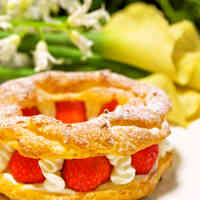 Easy Paris-Brest Cream Puffs using Pancake Mix for Festive Occasions