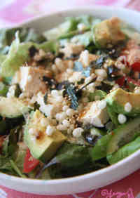 Tofu & Avocado Salad with Tempura Batter Crumbs and Mentsuyu Dressing