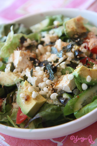 Tofu & Avocado Salad with Tempura Batter Crumbs and Mentsuyu Dressing