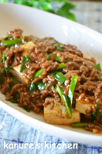 Sukiyaki-style Stewed Ground Meat and Tofu