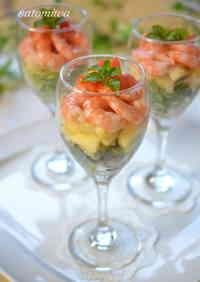 For Doll's Festival: Tri-colored Shrimp Cocktail Salad