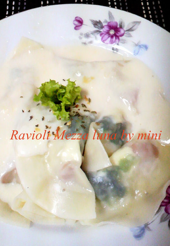 Mezzaluna Ravioli made with Gyoza Skins