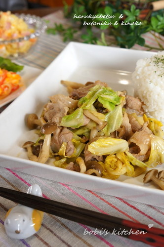Miso Flavoured Spring Cabbage and Mushrooms
