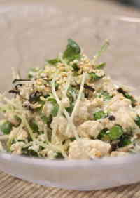 Tossed Tofu and Daikon Radish Sprout Salad