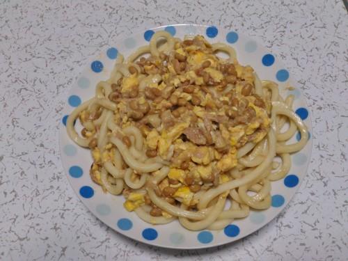 Tuna & Natto Stir-Fried Udon Noodles