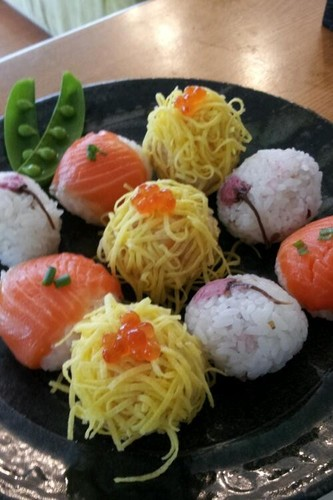 Temari Sushi for a Cherry Blossom Party or Hina-matsuri Girls' Day
