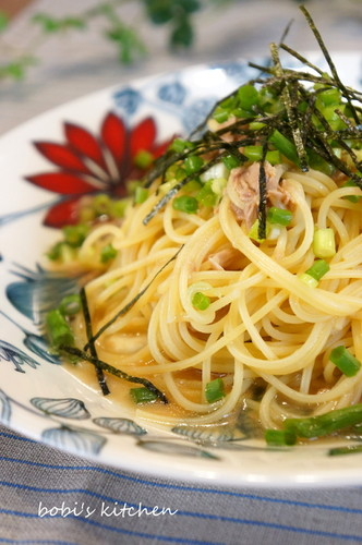 Japanese Style Pasta with Tuna and Green Onions