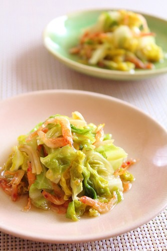 Steam Cooked Spring Cabbage and Sakura Shrimp